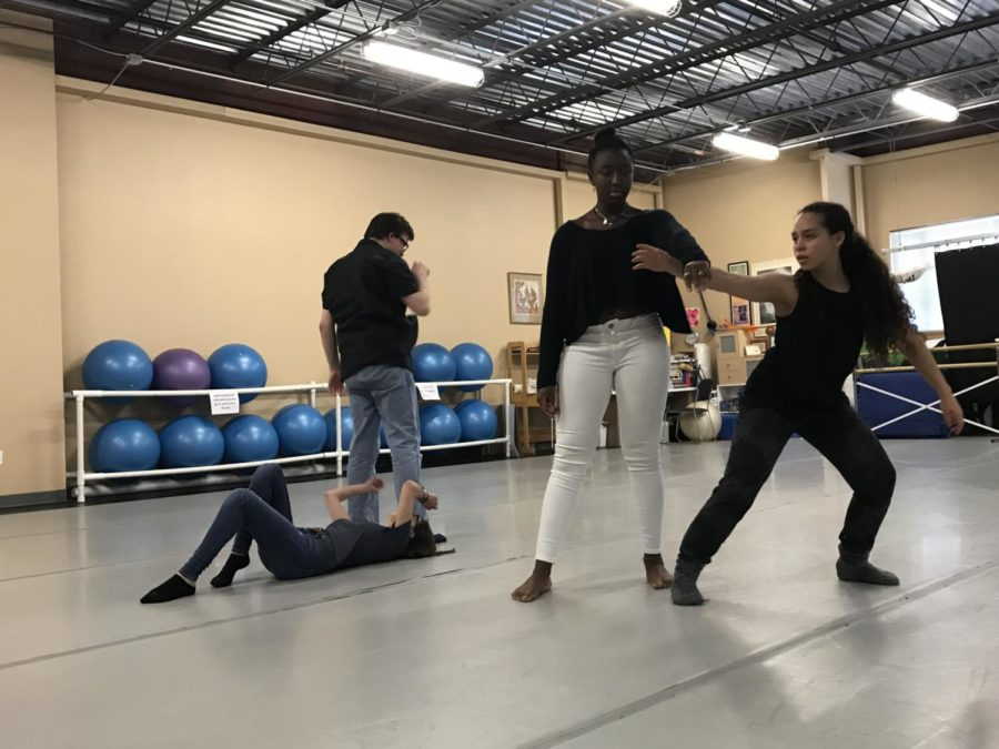 From left to right: Abby Cohen 19, Charlie Smith 18, Kennedy Carter 19, and Manon Scialfa 19. A few members of Ms. Narcisses H block class running through an intricate collaborative piece that is being created.