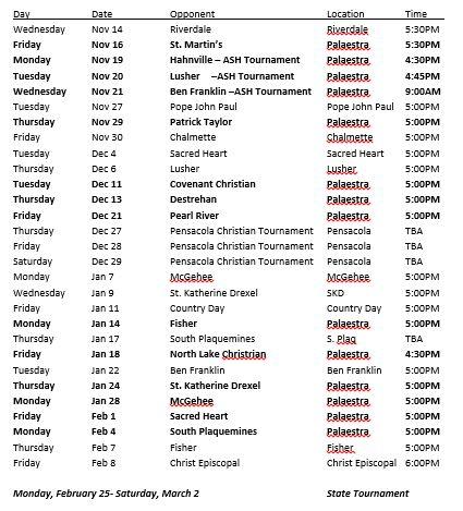 W-B-Ball Schedule 2018