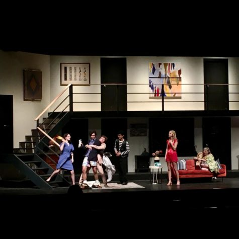 "From left to right, Elly Patron, John Blake Zatezalo, Jackson Haber, Liam French, Margot Roussel, and Aubrey Whitaker in a scene from ""Noises Off"" at the Henson Auditorium."